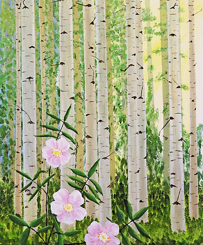forest, nature, flowers, roses, aspen