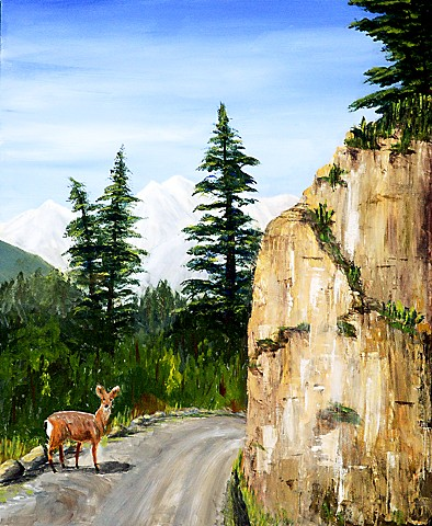 Nature, deer, rock, acrylic, painting