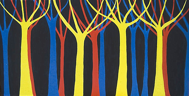Tree trunks and a forest painted in primary colours