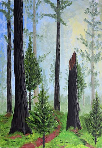 trees, forest , nature, acrylic, painting