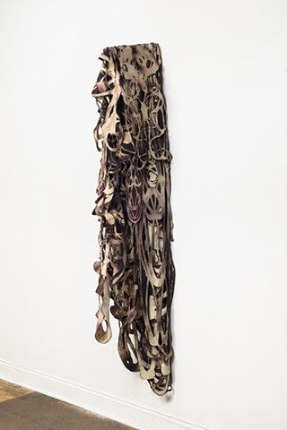 Fiber Art, Sculpture, Textile, Textiles, Discharge Paste, Hand-cut fabric sculpture, skeletal, body art