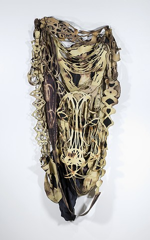 Fiber Art, Sculpture, Textile, Cleveland Artist, Ohio Artist, Feminist Sculpture, Midwest Artist, Female Artist, Textiles, Discharge Paste, Hand-cut fabric sculpture, skeletal, body art