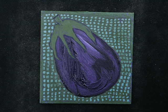 eggplant on blue squares
