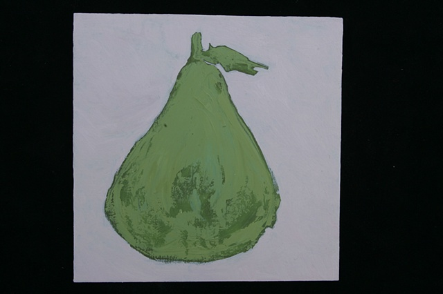 green pear on pink