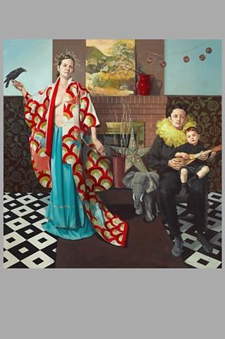 Family Portrait with Kimono and Raven