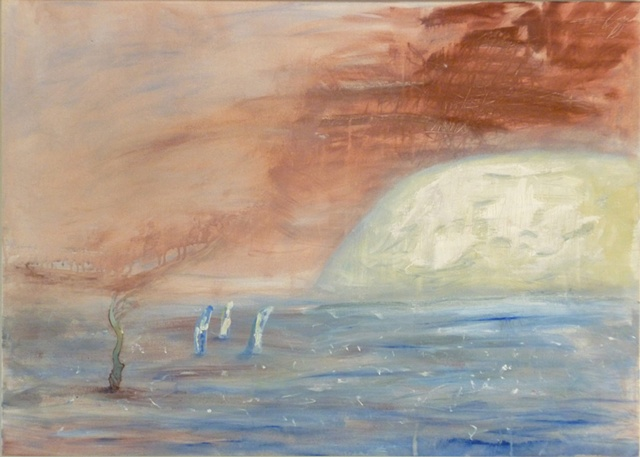 painting of acrylic on canvas depicting a mysterious landscape