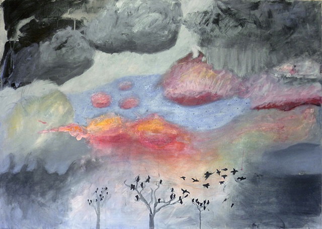painting with crows, landscape, acrylic on canvas