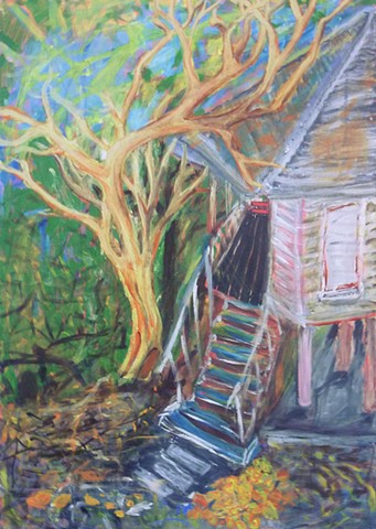 Old House, Miranda Roussel painting, Darwin, Tropical Houses