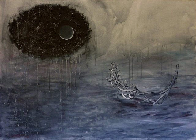 La Luna, painting by Miranda Roussel, acrylic on canvas, Confused Weather
