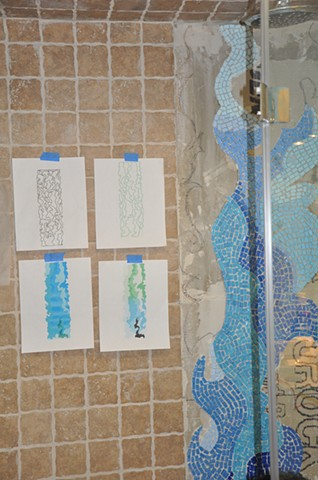 Sketches and color samples for Waterfall 2