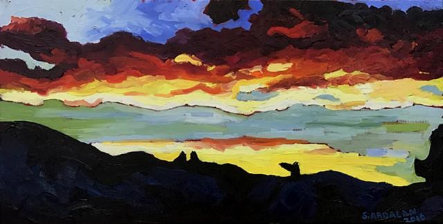 Oaxaca Sunset, 2016, Oil on Canvas, 12 x 24, 30 x 60 cm
