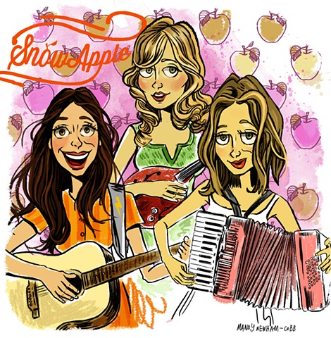 "illustration of Dutch band ""Snowapple"" for Sessions from the Box!"