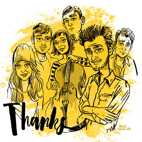 "illo of band ""THANKS""! for Sessions from the Box"