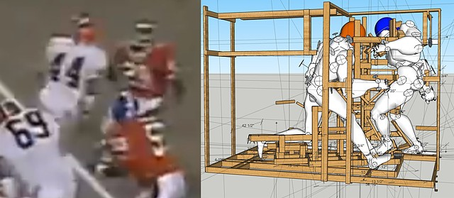 Research Material: A still image from footage of the fumble in the 1987 AFC Championship game, alongside a 3D model derived from the footage.