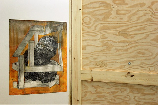 Containerful Installation View: Crate for Sculpture of Earnest Byner with Pistol Pete and Father Press