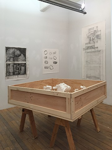 Installation View: Crated Break (Roky 1984), Crated Break (Roky Landscape), Crowns From Demon Angel, Crate for Jackie's Bowling Trophy