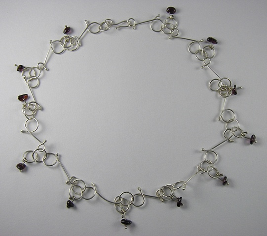 Doodle necklace with garnets