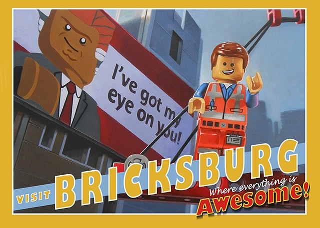 """Welcome to Bricksburg""  Postcard Correspondence Postcard Art"