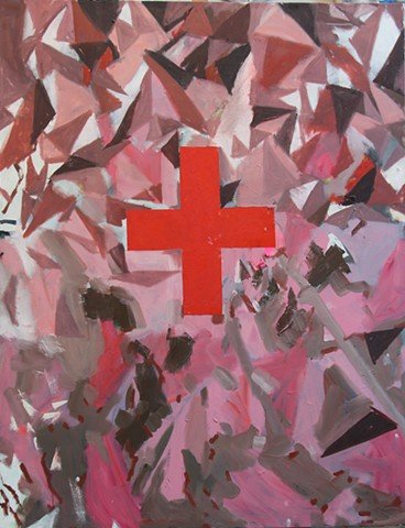 pink mountain, red cross