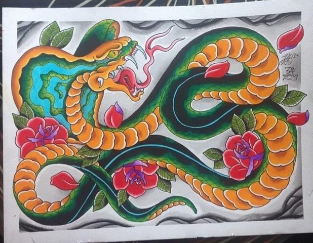 Cobra and Roses