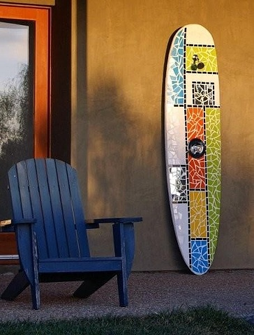 """Off The Grid"" Palm Desert, CA Custom Mosaic Surfboard Shower Recycled surfboard, mirror and glass"