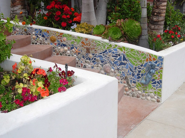 Custom mosaic installation Shells, rock, ceramics and recycled glass Solana Beach, CA