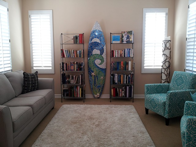 """Wave & Kelp"" Carlsbad, CA Custom Mosaic Surfboard Sculpture Recycled surfboard, mirror & cut glass"