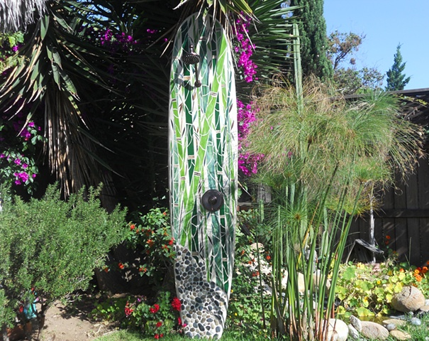 """Bamboo Reflections IV"" Solana Beach, CA Custom Mosaic Surfboard Shower Recycled surfboard, mirror, glass and beach rock"