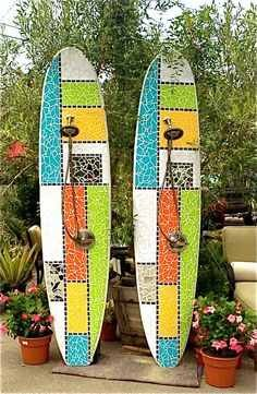 """Off The Grid"" Laguna Beach, CA Custom Mosaic Surfboard Showers Recycled surfboard and mirror with cut glass"