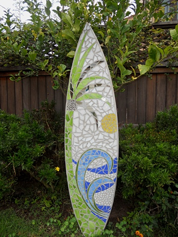 """Tropical Sun"" Custom Mosaic Surfboard Sculpture Donated to Cardiff Surf Classic &  Rerip Green Fest September 17 & 18, 2011 Seaside Beach Cardiff-by-the-Sea, CA"