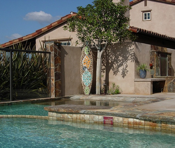 """Marrakech"" Custom Surfboard Shower Recycled surfboard, glass Rancho Santa Fe, CA"