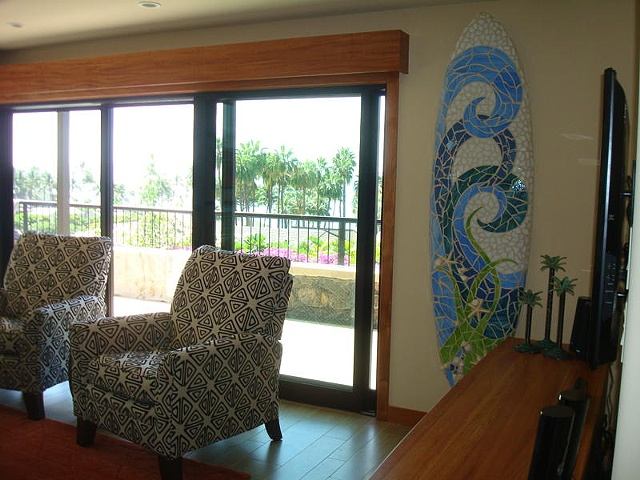 """Moana"" Custom Surfboard Sculpture Recycled surfboard, cut glass and shells Kihei, Hawaii"