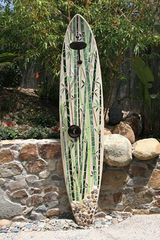"""Bamboo Reflections I"" Custom Surfboard Shower Recycled surfboards, glass, mirror, river rock Solana Beach, CA"