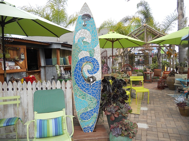 """Waves"" Custom Surfboard Shower Recycled surfboard and mirror with glass Joshua Tree, CA"