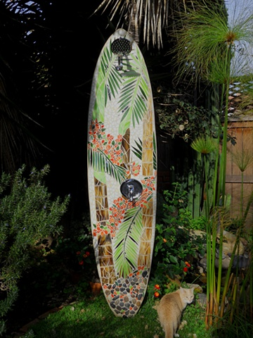 """Whispering Palms"" Palm Beach Gardens, FL Custom Mosaic Surfboard Shower Recycled surfboard and mirror with glass and rocks"