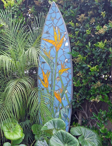 """Birds"" Custom Surfboard Sculpture Recycled surfboard, mirror and glass Solana Beach, CA"