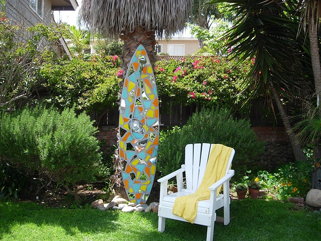 """Fractured"" Solana Beach, CA Custom Mosaic Surfboard Shower Recycled surfboard, glass"