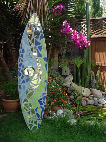 """Ebb & Flow"" Custom Surfboard Shower Recycled surfboard, mirror and glass Del Mar, CA"