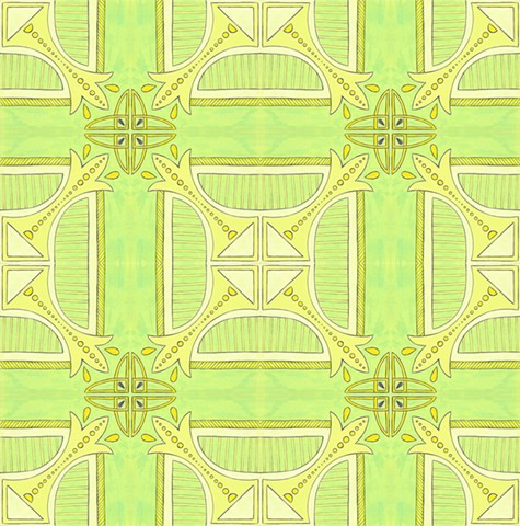 Green Deco Tile Print
