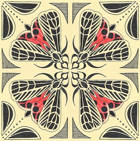 Moth Tile Print