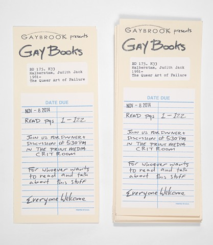 library date due, queer, Gay Books, Halberstam, failure, Cranbrook academy of art invitation, Gaybrook