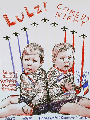 bastille twins for comedy night poster hosted by Randy Bush at AS220, Providence, Rhode Island,  Screen print half tones twin boys red white and blue patriotic