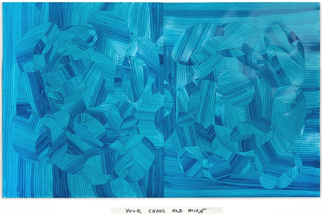 Inlay drawing cut paper, art, monochrome, blue, turquoise, art, abstraction, abstract
