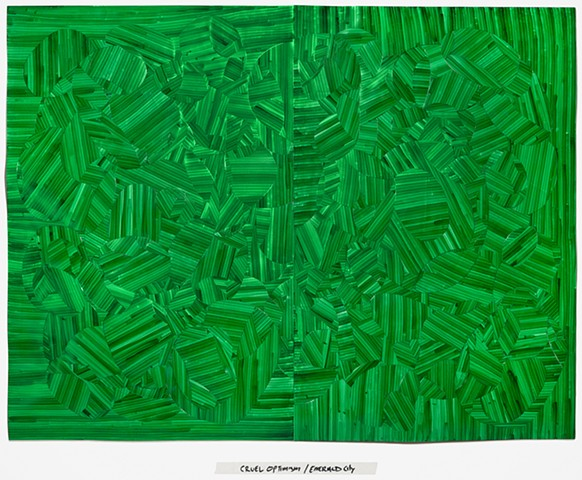Inlay drawing cut paper, art, monochrome,green, envy, lauren berlant quote, lauren berlant, cruel optimism, wizard of oz, emerald city, art