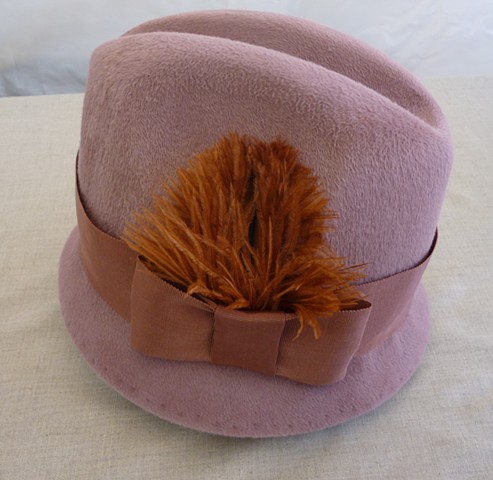Jess dusty rose trilby hat with vintage feather by tonya gross millinery