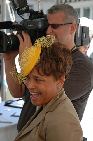 Tonya Gross Millinery as worn by Leeann Trotter at Fashion Focus Chicago Sidewalk Sale on Daley Plaza