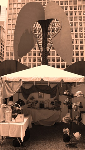 The first Tonya Gross Millinery selling event for Fashion Focus Chicago Sidewalk Sale on Daley Plaza, 2007