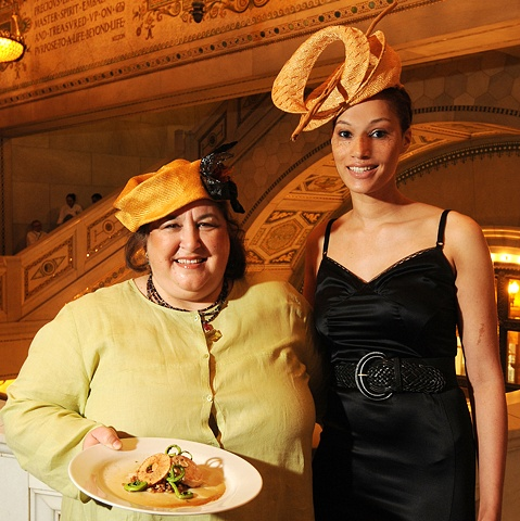 Chef Carrie Nahabedian of Naha and Model Angela wearing Tonya Gross Millinery for the Les Dames 2010 Fashion Plate Event
