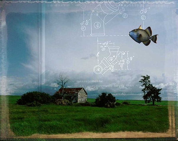 Pop Surrealism mixed media collage image. Fish swimming in sky.