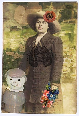Pop Surrealism mixed media collage image. Mother & Child in field of daisies..